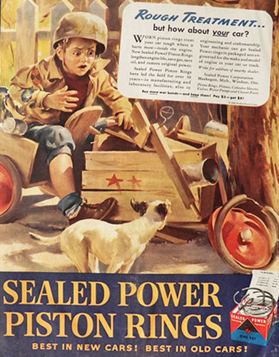 1945 Sealed Power Piston Rings Ad ~ Boy on Wooden Go-Cart & Dog