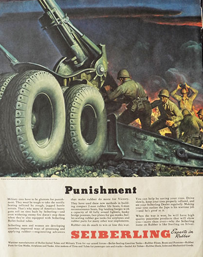 1943 Sieberling Rubber Ad ~ John Clymer ~ Military Tires