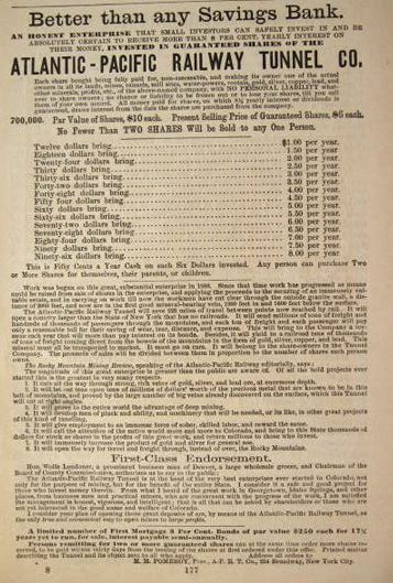 1890 Atlantic Pacific Railway Tunnel Ad Shares For Sale