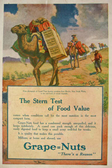 1914 Grape Nuts Cereal Ad ~ Camel Train from Bourke New South Wales
