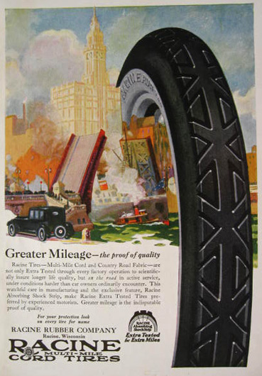 1921 Racine Multi-Mile Cord Tires Ad