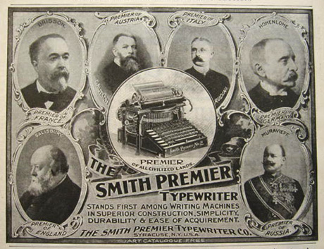 1898 Smith Premier Typewriter Ad ~ Premiers of Countries