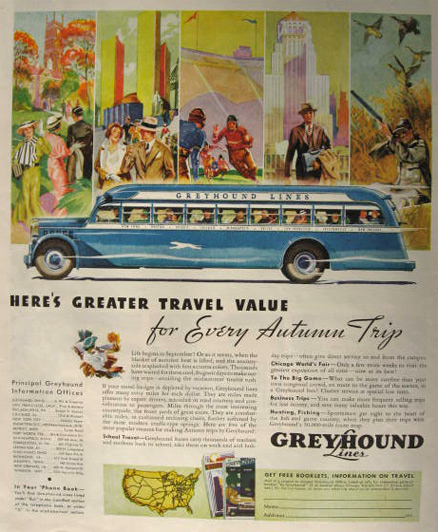 1934 Greyhound Bus Ad ~ Autumn Trip