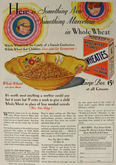 1931 Wheaties Cereal Ad ~ Something Marvelous in Whole Wheat