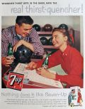 1958 Seven-Up 7Up Ad ~ Bowling