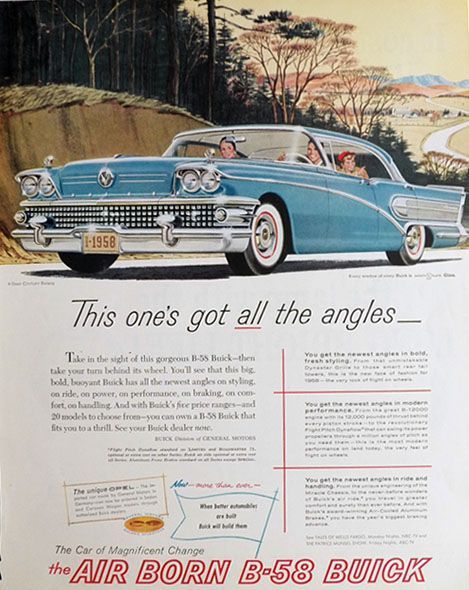1958 B-58 Buick Century Riviera Ad ~ All The Angles