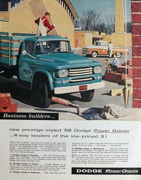 1958 Dodge Trucks Ad ~ Power Giants