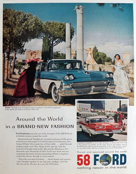 1958 Ford Fontata Ad ~ Rome & United Nations