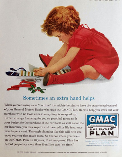 1958 GMAC Payment Plan Ad ~ Child Gift Wraps Dad's Tie