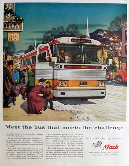 1958 Mack Truck Ad ~ Intercity Bus ~ Woodi Ishmael Art