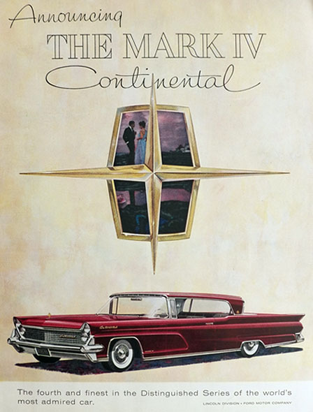 1958 Lincoln Continental Mark IV Ad ~ The Fourth & Finest