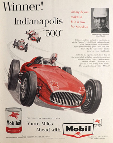 1958 Mobiloil Ad ~ Indianapolis 500 Winner Jimmy Byron