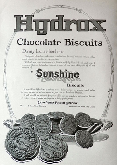 1917 Sunshine Hydrox Chocolate Biscuits Ad ~ Dainty Biscuit Bon-Bons