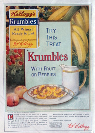 1917 Kellogg's Krumbles Cereal Ad ~ With Fruit or Berries