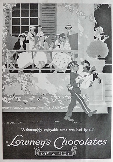 1917 Lowney's Chocolates Ad ~ Bellboy
