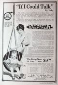 1916 Antique Baby Nest Baby Swing Ad