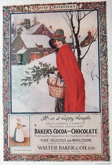 1916 Baker's Cocoa Ad ~ Norman Price Chistmas Girl w/ Basket