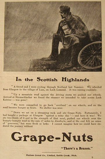 1908 Grape Nuts Cereal Ad ~ Scottish Highlands
