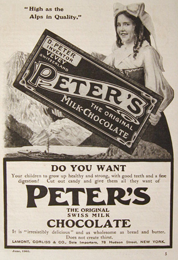 1905 Peter's Chocolate Ad ~ High as the Alps in Quality