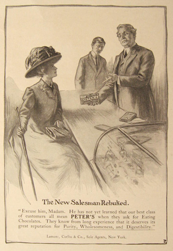 1910 Peter's Chocolate Ad ~ New Salesman Rebuked