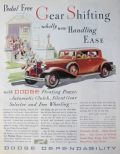 1932 Dodge Eight Coupe Ad ~ Pedal Free Shifting