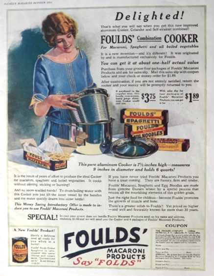 1925 Foulds Macaroni Cooker Ad