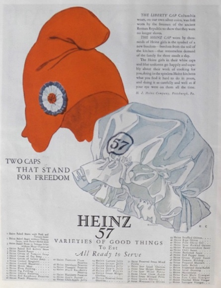 1924 Heinz Ad ~ Two Caps That Stand for Freedom