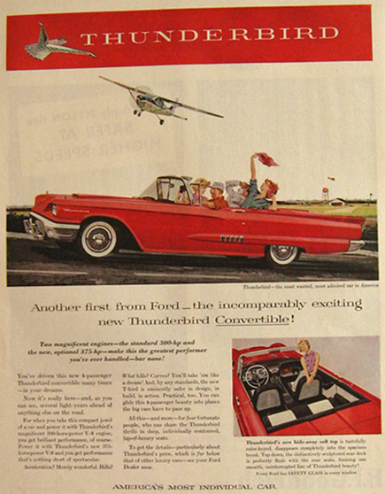 1958 Ford Thunderbird Convertible Ad
