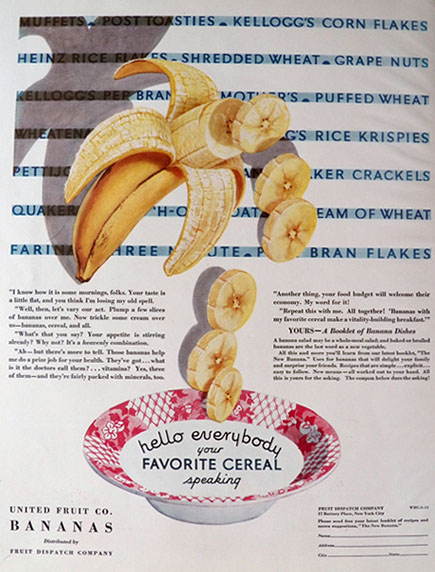 1931 United Fruit Company Ad ~ Bananas in Cereal