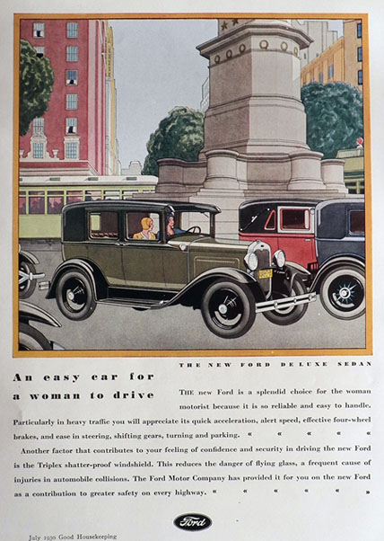 1930 Ford Deluxe Sedan Ad ~ Easy For a Woman
