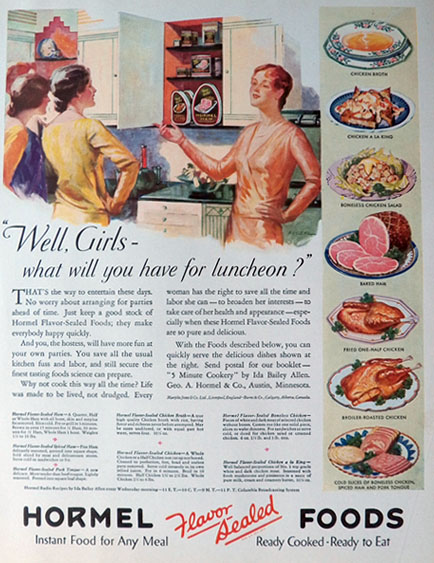 1931 Hormel Foods Ad ~ What Will You Have For Luncheon?