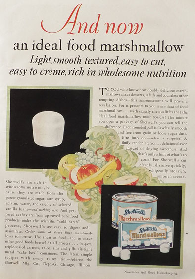 1928 Shotwell's Marshmallows Ad ~ Wholesome Nutrition
