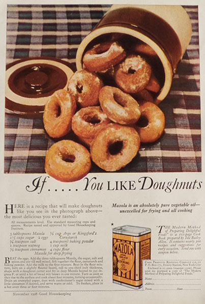 1928 Mazola Oil Ad ~ Delicious Donut Recipe