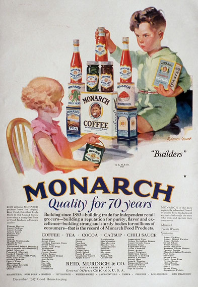 1927 Monarch Foods Ad ~ Kid Builders