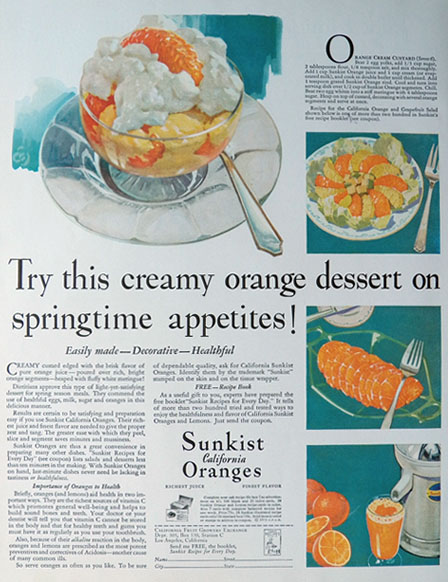 1931 Sunkist Oranges Ad ~ Orange Custard Recipe