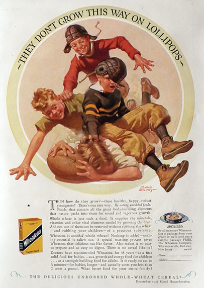 1927 Wheatena Ad ~ Frederic Stanley Football Kids