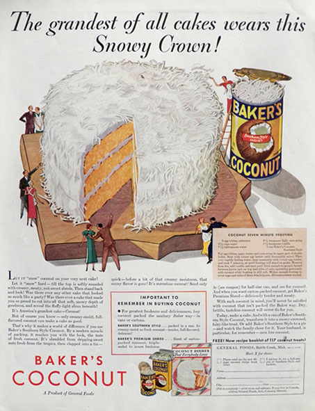 1933 Baker's Coconut Ad ~ Coconut 7-Minute Frosting