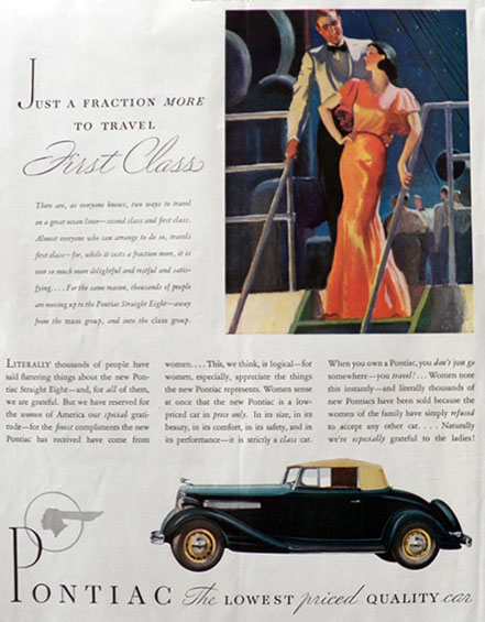 1934 Pontiac Straight Eight Ad ~ Travel First Class