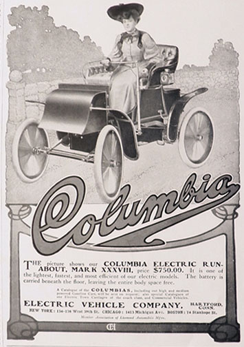 1904 Columbia Electric Runabout Car Ad