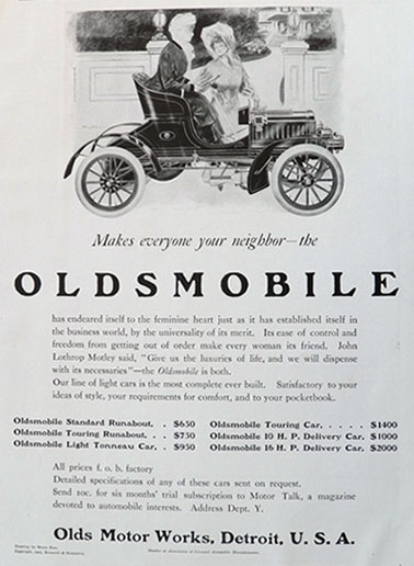 1905 Oldsmobile Antique Car Ad ~ Makes Everyone Your Neighbor
