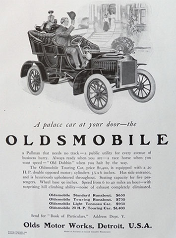 1905 Oldsmobile Touring Car Ad ~ Palace Car