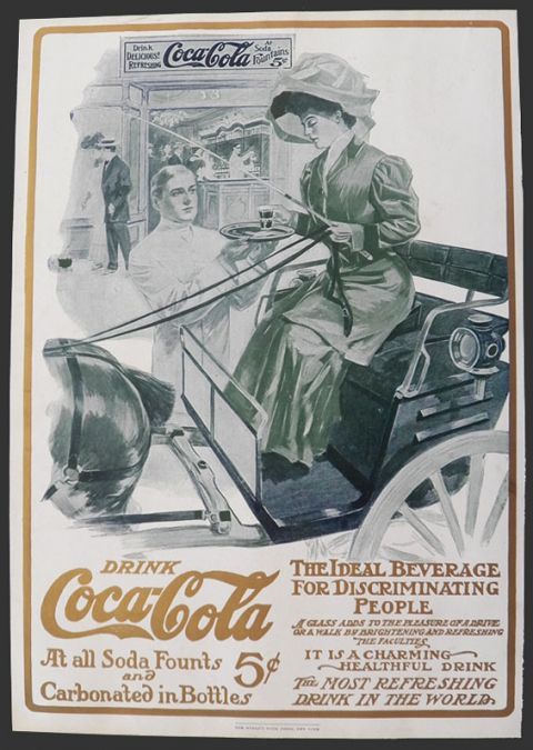1906 Original Coca Cola Coke Ad ~ Massengale ~ Woman on Horse Cart