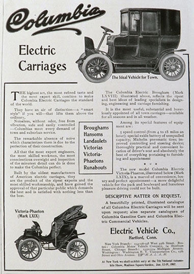 1906 Columbia Electric Car Carriage Ad