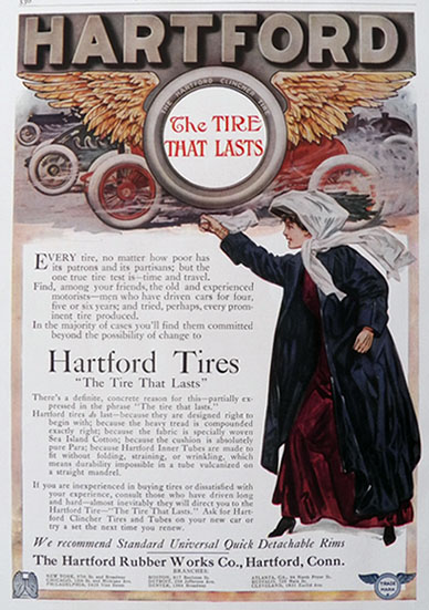 1909 Hartford Tires Ad ~ The Tire That Lasts