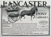 1906 Lancaster Pony Horse Carriage Ad