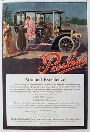 1907 Peerless Motor Car Limousine Ad ~ Attained Excellence
