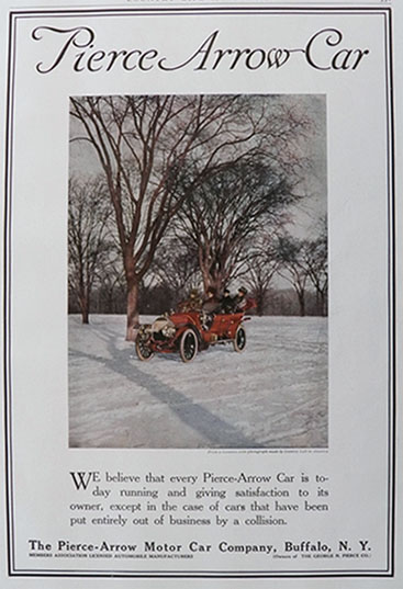 1909 Pierce Arrow Car Ad ~ Winter Scene
