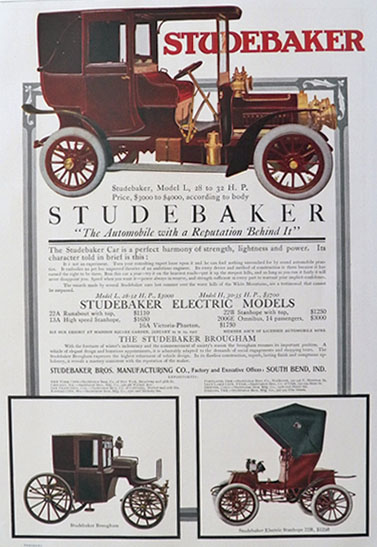 1906 Studebaker Electric Car Ad ~ Model L, Brougham, Stanhope