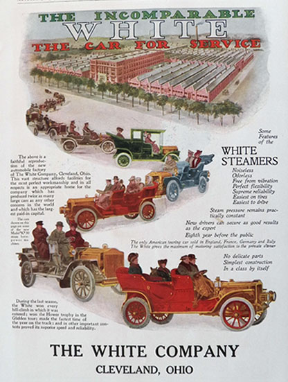 1907 White Steam Car Steamer Color Ad ~ Cleveland Factory