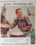 1957 Seven Up 7-Up Soda Ad ~ Drummer